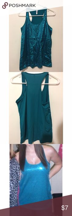 Teal sequined racerback tank Teal racerback tank with sequins on front of shirt Xhilaration Tops Tank Tops