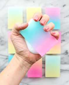DIY Gradient Soap Bars -- by mixing two colors of melt-and-pour soap, you can create these gorgeous color-washed soap bars... Would be a fantastic DIY gift!