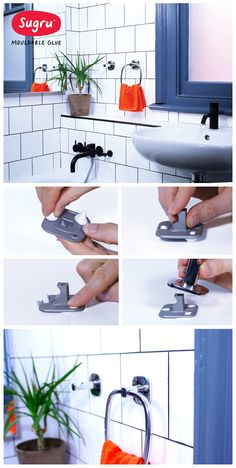 Attach bathroom fittings without drilling using Sugru
