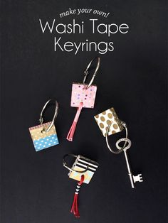 Never get confused by your plethora of keys again with these adorable DIY washi tape keyrings from Paper and Pin. For most of my keys have lived on a Diy Washi Tape Crafts, Diy And Crafts, Paper Crafts, Diy Keyring, Cute Lanyards, Cool Diy Projects, Diy For Kids, Diy Tutorial, Handmade Jewelry