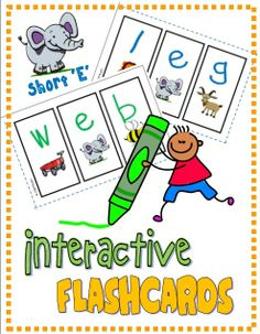 """Mini Interactive Student Flashcards (Short """"E""""); Students create their own mini segmenting flashcards; reinforce letter/sound correspondence (RF.K.2d) #phonics"""