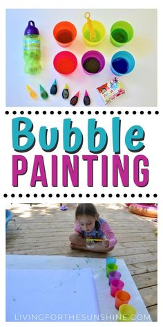 Bubble Painting: An Outdoor Art Activity - The Play Based Mom Bubble Activities, Outdoor Activities For Toddlers, Nanny Activities, Summer Activities For Kids, Infant Activities, Indoor Activities, Toddler Art Projects, Toddler Crafts, Preschool Activities