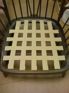 Webbing tutorial for redoing the Ercol sofa. can't part with it afterall. Ercol Sofa, Ercol Dining Chairs, Ercol Furniture, Blue Dining Room Chairs, Metal Furniture, Industrial Furniture, Diy Furniture, Upholstery Courses, Furniture Upholstery