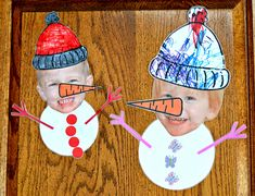 "Personalized Snowchildren as easy as a printing a photo, cutting out the face, having children color hats and carrots you have drawn, and gluing on buttons and hands. Add a sign that says ""Let it Snow"" and you ahve a fun poster to put up with coat rack or on front door. Link doesn't give any printables, just a photo to inspire."