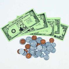 Set of 150 pieces Play Money Bills Coins Pretend and Play Perfect for Kids