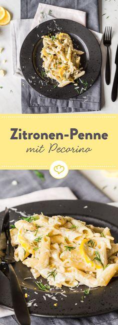 Diese Zitronen-Penne mit Pecorino sind genau das richtige um dir auf die schnelle ein wunderbar erfrischendes Feierabend-Gericht zuzubereiten.