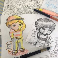 Doodle day  #line #illustration #doodle #drawing #pencilcolor #kids #cap #characters #maechi #play
