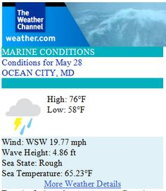 Ocean City Maryland Weather Forecast for June 2014 - Betting on mostly sunny! Turkey Weather, Sea State, Weather Details, Mostly Sunny, Rough Seas, Beach Weather, Ocean City Md, The Weather Channel