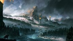 Winter is Coming - Remaster by JJcanvas river snow mountains forest towers landscape location environment architecture | Create your own roleplaying game material w/ RPG Bard: www.rpgbard.com | Writing inspiration for Dungeons and Dragons DND D&D Pathfinder PFRPG Warhammer 40k Star Wars Shadowrun Call of Cthulhu Lord of the Rings LoTR + d20 fantasy science fiction scifi horror design | Not Trusty Sword art: click artwork for source
