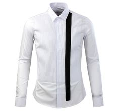 GIVENCHY Style White Slimfit Striped Bibfront Cotton Shirt