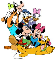 Mickey Mouse, Pluto, Minnie Mouse, Donald Duck, Daisy Duck, Goofy