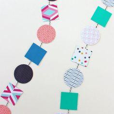 Create an interesting geometric garland with patterned paper - an easy addition to any party or hang-out space. Diy Garland, Festive, Craft Projects, Kids Rugs, Scrapbook, Diy Crafts, Create, Paper, Blog