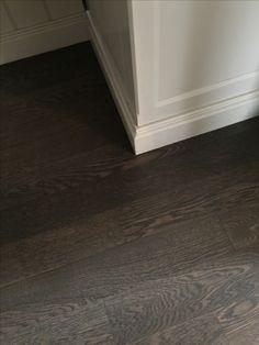 """4"""" white oak hardwood floor. Stain: Classic grey and ebony"""