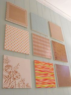 Canvas Wall Art - using scrap book paper and modpodge