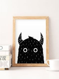 Cute monster, Monster silhouette, Monster prints, Nursery wall art, Kids room prints, Cute art prints, Little kids art, Illustration for kid  Printed