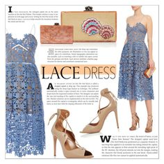 """""""Lovely Lace Dresses"""" by martso ❤ liked on Polyvore featuring self-portrait, Aquazzura and Edie Parker"""