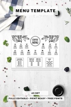 This Restaurant Menu Template is well organized and structured. All files are print-ready. Restaurant Menu Template, Menu Restaurant, Coffee Shop Menu, Templates, Cafe Menu, Stencils, Vorlage, Models