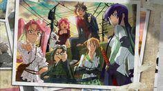 Anime Highschool Of The Dead  Saya Takagi Kohta Hirano Alice Maresato Zeke (Highschool Of The Dead) Takashi Komuro Rei Miyamoto Saeko Busujima Weapon Katana Pink Hair Purple Hair Fondo de Pantalla