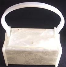 GENUINE RIALTO Vintage Lucite Purse White Marbleized Signed - Adorable Size!