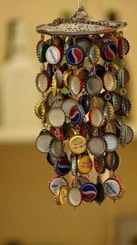 Bottle cap Windchime - I collect bottle caps and am always in the need of cool crafts to do with them!