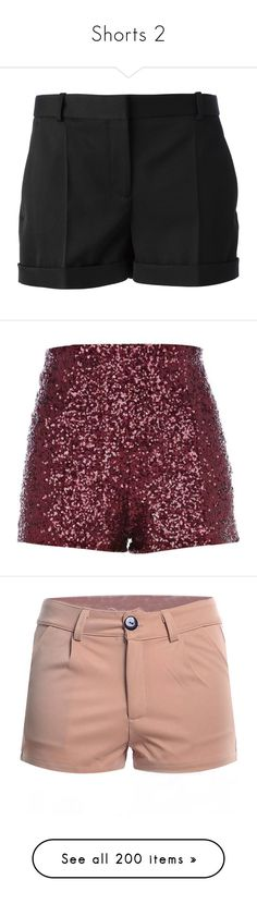 """Shorts 2"" by sissesofiemark ❤ liked on Polyvore featuring shorts, bottoms, alexander mcqueen, short, pants, short shorts, pocket shorts, tailored shorts, wool shorts and red shorts"