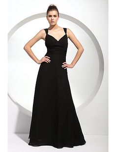Hilary likes this one A-line Straps Floor-length Chiffon Bridesmaid/ Wedding Party Dress - CAD $ 107.19