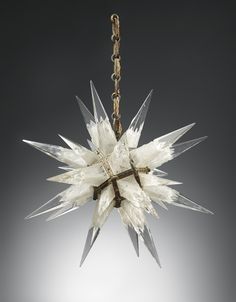 Amazing pointed star crystal chandelier / art. Very non traditional! --  [Charles J. Weinstein Company Chandelier, Designed 1931 20th Century Decorative Art & Design]