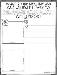 A classroom guidance lesson on Conflict Resolution in the elementary classroom Elementary School Counseling, School Social Work, Career Counseling, School Counselor, Elementary Schools, Forgiveness Lesson, Therapist School, Social Skills Activities, Therapy Activities