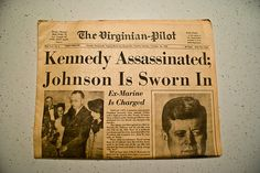 John F. Kennedy Assassination  November 1963    Source: http://artsconnected.org/collection/118487/art-in-the-1960s#%284%29