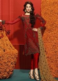 Party Wear Maroon Georgette Heavy Embroidery Work Salwar Suit