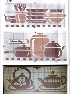 imagem discovered by Lurielly. Discover (and save!) your own images and videos on We Heart It Cross Stitch Kitchen, Mini Cross Stitch, Cross Stitch Borders, Counted Cross Stitch Patterns, Cross Stitching, Cross Stitch Embroidery, Embroidery Patterns, Crochet Numbers, Pixel Pattern