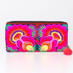 Boho Wallet Red Flower Hill Tribe Embroidered Handmade Fair Trade Thailand