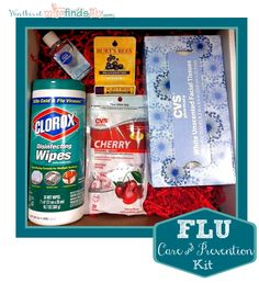 Flu Care Package : Clorox wipes, cough drops, tissues, germx, chap stick. I would add chicken noodle soup and maybe some Tylenol, Advil, theraflu, Vicks, and some Epsom salt.