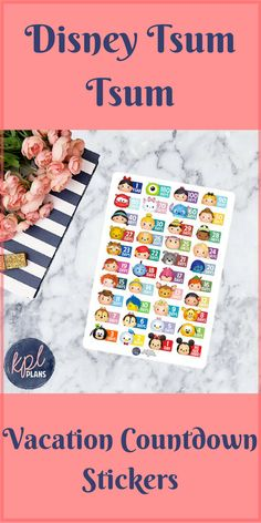 Make counting down to your magical Disney vacation even more fun with these adorable Disney Tsum Tsum countdown stickers.  Perfect for your journal or planner.  #ad  #etsy  #disney  #disneycountdown  #tsumtsum