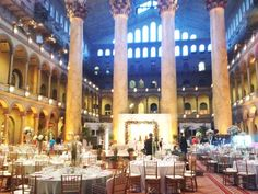 A Beautiful wedding at the National Building Museum in Washington DC -- Taylor and Hov Events + Design