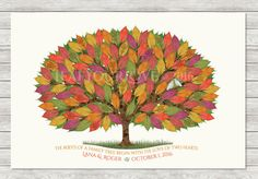25th Silver or 50th Golden Anniversary Gift & Guest Book Alternative - Anniversary Tree