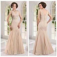 Champagne mermaid-style dress with crystal beading for $112.93