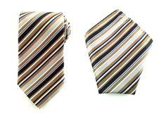 Mens Necktie Brown Blue Striped 8.5 CM Necktie with Pocket Square. Brown Wedding Necktie. Brown Pocket Square. Groomsmen Tie. Handkerchief