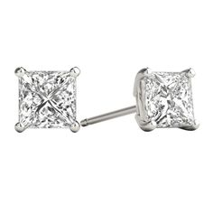 ed4702771 1.00ct Princess Cut Diamond Studs Earrings set in 14K White Gold Princess  Cut Diamond Earrings