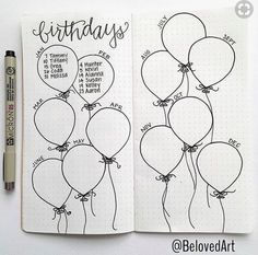 Bullet Journal Collection Ideas - The Best Ones! - Slightly Sorted Bullet journal collection ideas birthday balloons Bullet Journal Collection Ideas - The Best Ones! - Slightly Sorted Bullet journal collection ideas birthday balloons Bullet Journal 2019, Bullet Journal Notebook, Bullet Journal Inspo, Bullet Journal Spread, Bullet Journal Ideas Pages, My Journal, Journal Pages, Birthday Bullet Journal, Bullet Journal Ideas How To Start A