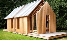 Garden House designed and built by Caspar Schols - Timber and glass walls slide along runners to reveal or enclose this gabled garden shed in Eindhoven, Inside Garden, Home And Garden, Shed Design, House Design, Garden Design, House Slide, Movable Walls, Sliding Wall, Micro House