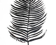 "areca palm leaf - linoleum block print - 11""x14"" wall art"