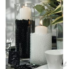 Water Pearls Centerpiece Filler - showing black and white pearls can also be used in base of branch centerpieces