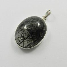925 Sterling Silver Black Rutile 21x27mm Oval Gemstone Fashion Pendant Jewellery #Handmade #Pendant