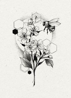 Flower Tattoos, Tattoo Ideas, Cherry, Bee, Dragon, Bullet Journal, Drawings, Design, Random Tattoos