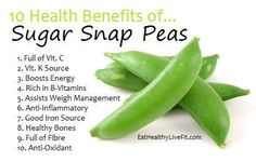 spring—eat some snap peas! Yep…they are in season and they are sweet and delicious and super low in calories. Sugar snap, snow or pod peas—all are filled with fiber, B-vitamins and iron—and all this for a mere 40 calories per cup! Fruit Benefits, Health Benefits, Vegetable Benefits, Health And Nutrition, Health And Wellness, Nutrition Guide, Health Facts, Healthy Tips, Healthy Recipes