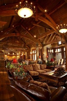 46 Amazing Lodge Living Room Decorating Ideas - Modul Home Design Log Cabin Homes, Log Cabins, Mountain Cabins, Mountain Living, Lodge Style, Rustic Design, Great Rooms, My Dream Home, Beautiful Homes