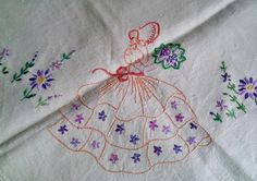 Vintage Crinoline Lady embroidered tablecloth by Marcialois