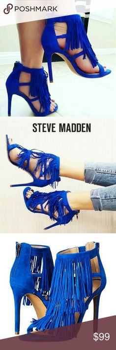 """Steve Madden Fringly Fringe Suede Heels Playful sweeping fringe lends soft bohemian allure to a lush suede cage sandal lifted by a slender heel. 4-3/4"""" heel, back zip closure. Suede upper, synthetic lining and sole.   I absolutely adore these heels but haven't gotten a chance to wear these beauties. Since I have these in other colors I've decided to let this pair go. Condition: New without box. 1 minor mark, barely noticeable, on inner right heel strap as show in last photo, picture 3 in…"""