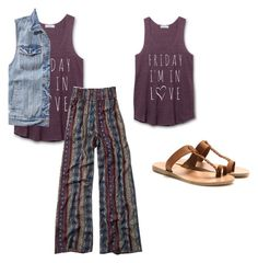 """""""FINALLY FRIDAY"""" by moseleym ❤ liked on Polyvore featuring Abercrombie & Fitch and Ancient Greek Sandals"""
